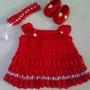 Conjunto Vestido Ropa Bebe Niña Tejido Crochet Rn 0-3 Meses