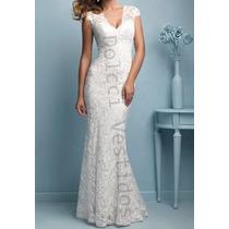 Vestido Em Renda, Sereia Longo De Festa/noiva, Com Bojo