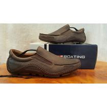 Zapatos Boating De Cuero Marrón N°45 . Nuevos