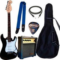 Combo Guitarra Electrica Stratocaster Ampli 10w Accesorios