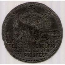 Medalla Ferrocarril A Chivilcoy 1866 Cataldi Peltre Mb+