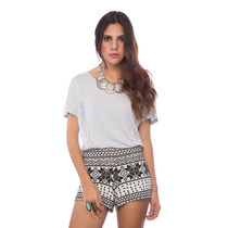 Blusa De Franela Ancha Gris Detalles Saints Clothes