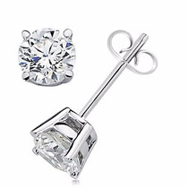 Aretes En Oro 14k Con Diamantes Naturales Blancos De 40 Pts