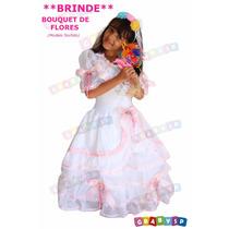 Vestido De Noiva Festa Junina + Brinde: Bouquet De Noivinha