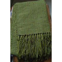 Xale De Lã Verde - Feito Em Tear Manual - 1,80mx0,55m