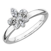 Flor De Lis Anillo Con Detalle De Diamante En Plata De Ley