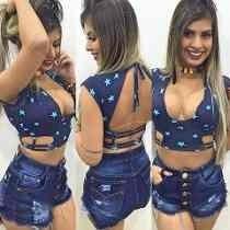 Shorts Curto Hot Pants Destroyed Cós Alto Moda Aline Panicat