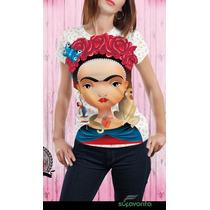 Playera De Mujer Manga Corta Estampada Frida Kahlo