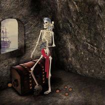 Esqueleto De Pirata Con Pata De Palo Halloween
