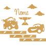 Kit Painel De Decoração Carros, Quarto, Bebê Mdf Cru 6mm