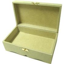 Caixa Trabalhada C/ Fecho E Dobraciças Dourada De Mdf