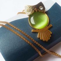 Regalo Mamá Novedad Collar Buho Swarovski Element Opalo Oro