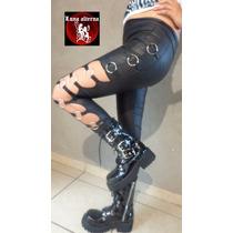 Leggin Vinil Argollas Descubierto Ropa Dark Glam Rocker