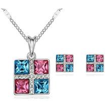 Set Collar Y Aretes Cristal Swarovski Con Certificado