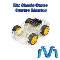 Kit Chasis Carro Cuatro Llantas Robot Arduino, Mejor Precio!