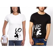 2 Playeras Amor Pareja Novios Mickey Personalizada Cr9509 Ml