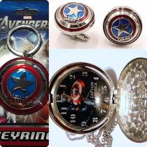 Marvel Capitán América Paquet Mancuernilla + Reloj + Llavero