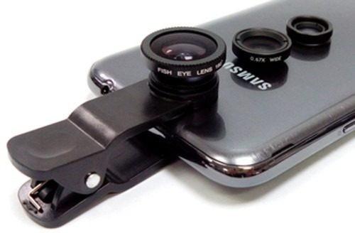 Resultado de imagen para Lentes 3 En1 Galaxy Iphone Ojo De Pescado Gran Angular Macro