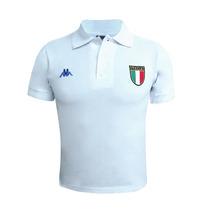 Playera Polo Casual Caballero Futbol Italia Kappa Blanco