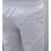 Calça Com Elástico, Uniforme, Branca, Tecido Fino,jaleco