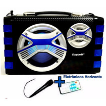 Caixa Som Ecopower Usb Fm Microfone Bateria Sem Fio Potente
