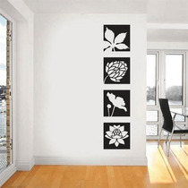 Adesivo De Parede Floral Em Quadros Mod. 1 - Pequeno 41x41cm
