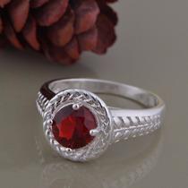 Anel Banhado A Prata Com Pedra De Cristal Vermelha Aro 19