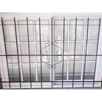 Ventana Aluminio Blanco Repartido 150x110 Reja Hierro 12