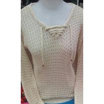 Blusa De Tricot Suéter Lã Feminina Com Brilho Manga Longa