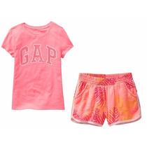 Conj Gap Niña Talla 5/6,7/8 Shorts Y Blusa C/logo Gap Nuevo