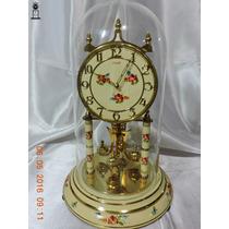 Relógio Antigo De Mesa 400 Dias Kundo Branco Floral Alemão