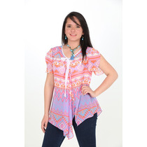 Blusas Mujer Chifon Estampado Bicolor Linda Ropa Mujer