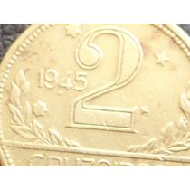 2 Cruzeiros De 1945 Variante Ponto Entre Datas 19.45 Coleção