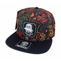 Boné Maffia & Co. Floral Caveira Aba Reta Snapback Authentic