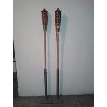 2 Pack Bases Para Antorcha Terraza Navidad Con Bambu