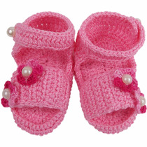 Sandália De Crochê Para Bebê Menina Modelo Bela