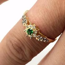 Anel Medicina Feminino Esmeralda Emblema Ouro 18k 21314