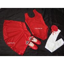 Kit Roupa Bailarina De Ballet Infantil 8 Anos Vermelha