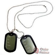 Colar Identificação Militar Dog Tag Com 2 Placas