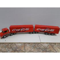 Nova Miniatura Bitrem Caminhão 9 Eixo Bau Coca Cola Scania