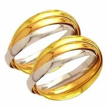 Par Aliança De Casamento Entrelaçada Ouro18k 750 M.cartier13