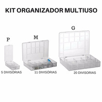 Kit 3 Caixas Organizadora Multiuso Plastico Para Bijuteria
