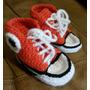 Escarpines Championes En Crochet Para Bebé. Largo 11-12 Cm