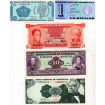 5 Billetes De Venezuela Año 1989 A 1992 Sin Circular