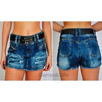 Shorts Saia Jeans Destroyed Com Cinto