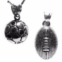 Dije Balon Futbol Soccer O Americano Collar Pelota Acero