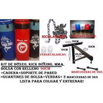 Kit:bolsa 90cm Llena+cadenas+soporte+guantines+vendas+mancue