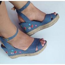 Sandalia Salto Bordado Spadrilhe Anabella Plataforma Jeans