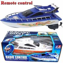 Lancha De Controle Remoto Importado Racing Boat A Pilha Azul