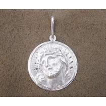 Pingente Medalha Jesus Cristo - Prata 925 / Unissex